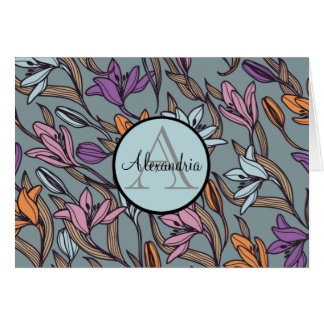Lily Flower Floral Blue Monogram Personalized Card