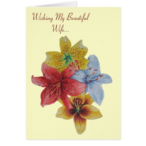 lily flowers floral love versed wife greeting card
