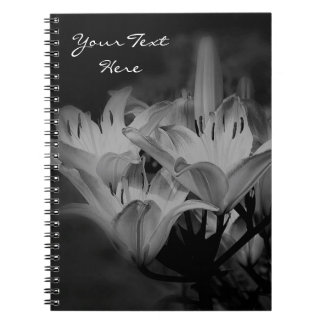 Lily Flowers In Black And White Notebook