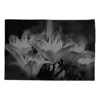 Lily Flowers In Black And White Pillowcase