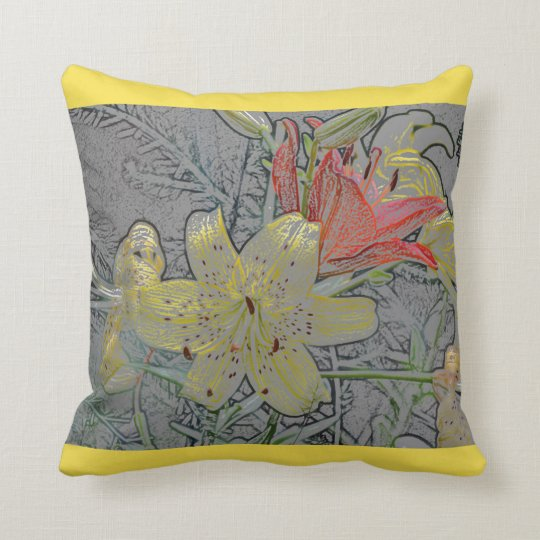 Lily Flowers Yellow and Orange Throw Pillow