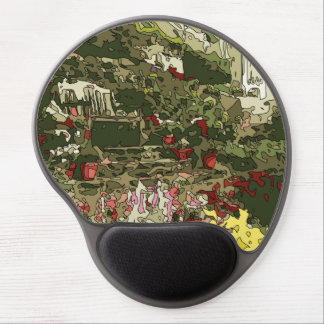 Lily Garden Pond with Flowers and Bench Gel Mouse Mats