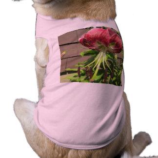 Lily Green Maroon Garden Flower Pet T Shirt