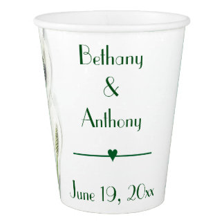 Lily Green & White Wedding Paper Cup
