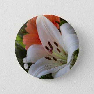 lily in the garden 6 cm round badge