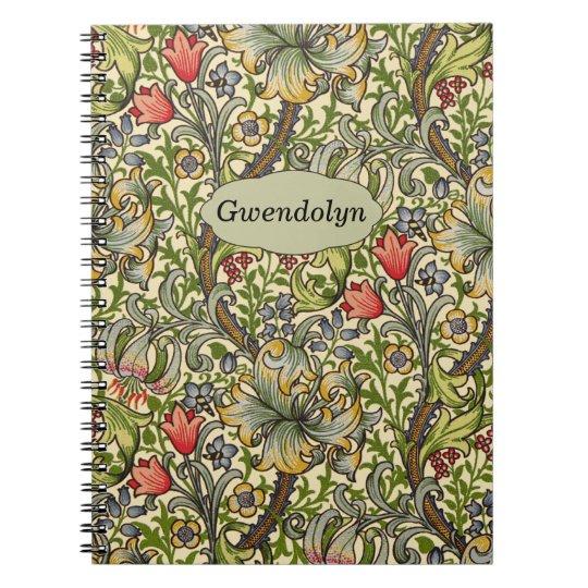Lily Morris Vintage Floral Personalised Monogram Spiral Note