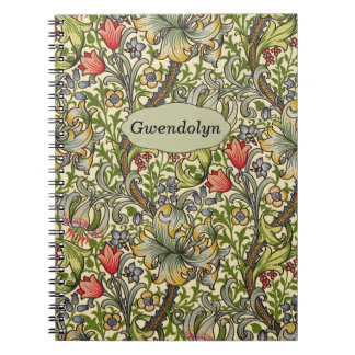 Lily Morris Vintage Floral Personalized Monogram Spiral Note Books