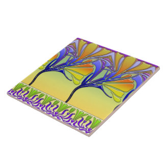 LILY NOUVEAU: BRIGHT SPRING GLASS LARGE SQUARE TILE