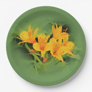 Lily of the Incas / Yellow Alstroemeria Paper Plate