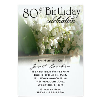 Lily of the Valley 80th Birthday Party Invitations