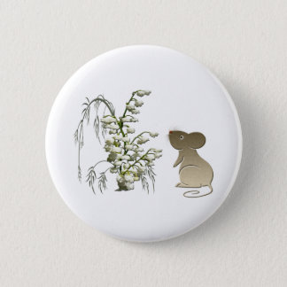 Lily of the Valley and cute mouse art 6 Cm Round Badge