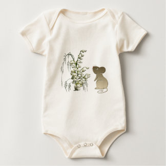 Lily of the Valley and Cute Mouse art Baby Bodysuit