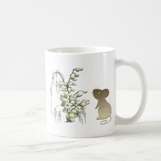 Lily of the Valley and cute mouse art Basic White Mug