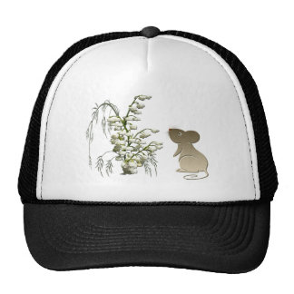 Lily of the Valley and cute mouse art Cap
