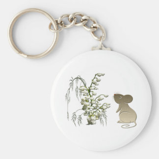 Lily of the Valley and Cute Mouse art Key Ring