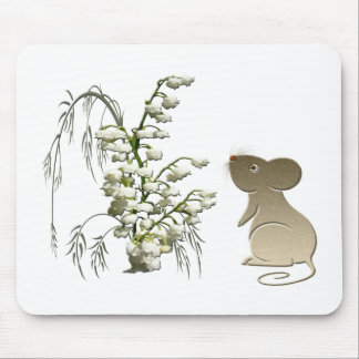 Lily of the Valley and Cute Mouse art Mouse Pad