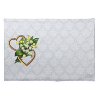 Lily of the Valley and Hearts lace with background Place Mats