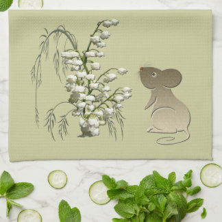 Lily-of-the-Valley and Mouse American MoJo Kitchen Tea Towel