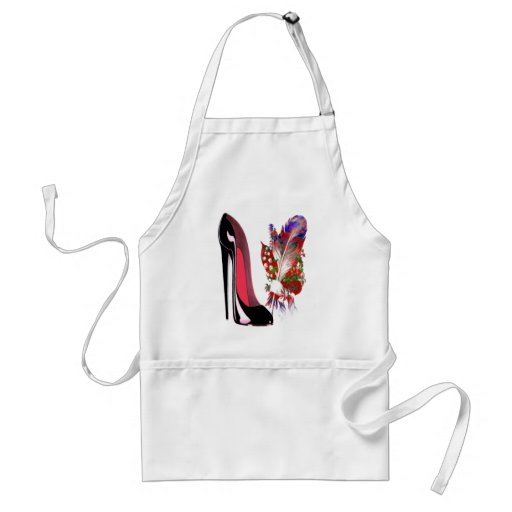 Lily of the Valley Bouquet and Black Stiletto Shoe Apron
