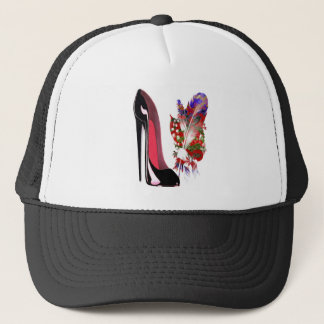 Lily of the Valley Bouquet and Black Stiletto Shoe Trucker Hat