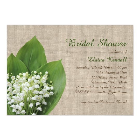 Lily of the Valley Bridal Shower burlap Card