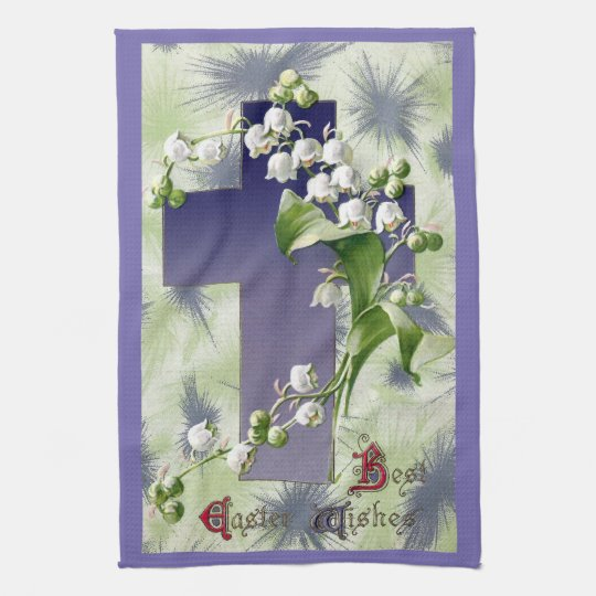 Lily of the Valley Easter Cross Kitchen Towels