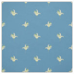Lily-of-the-Valley Floral Polka Dots on Blue Fabric