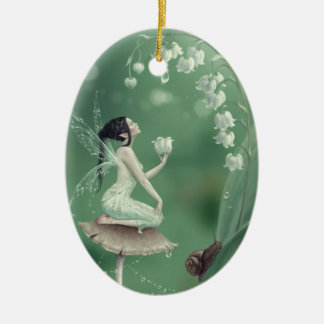 Lily of the Valley Flower Fairy Ceramic Ornament