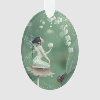 Lily of the Valley Flower Fairy Oval Ornament
