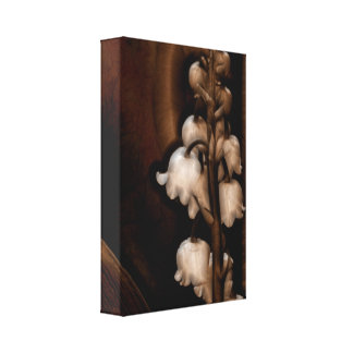 Lily of the Valley Flower in Dark Brown Canvas Print