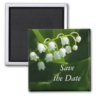 Lily of the valley flower square magnet