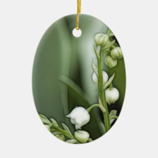Lily of the Valley Flowers Ceramic Oval Decoration