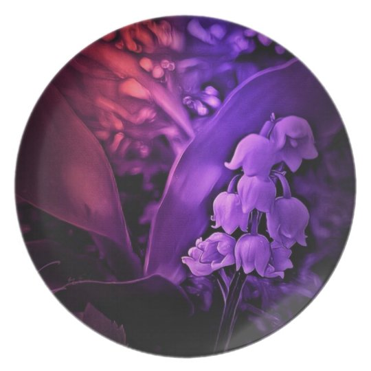 Lily of the valley in deep purple dreams plate