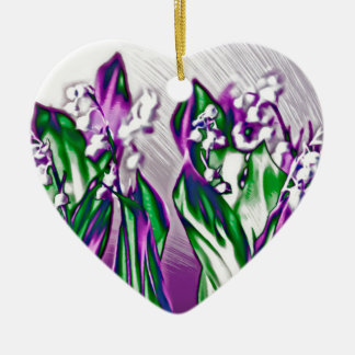 Lily of the Valley in Lavender Sketch Ceramic Heart Decoration
