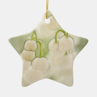 Lily of the Valley in Lavender Sketch Ceramic Star Decoration