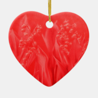 Lily of the Valley in Red Ceramic Heart Decoration