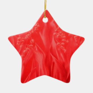 Lily of the Valley in Red Ceramic Star Decoration