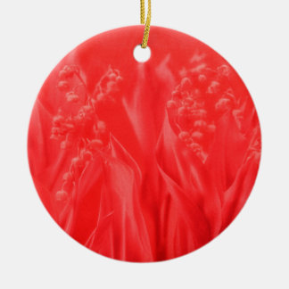 Lily of the Valley in Red Round Ceramic Decoration