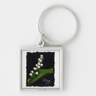 Lily of the Valley - May Silver-Colored Square Key Ring