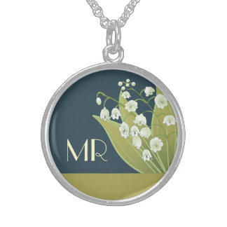 Lily of the Valley Monogram Sterling Silver Necklace