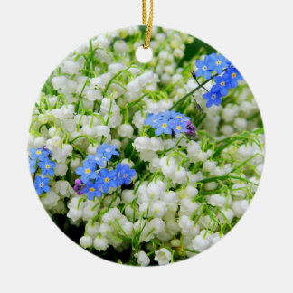 Lily of the valley round ceramic decoration