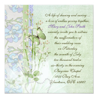 "Lily of the Valley Vow Renewal 5.25"" Square Invitation Card"