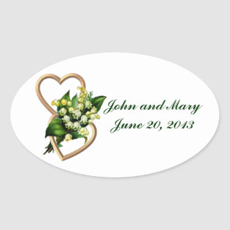 Lily of the Valley Wedding Memories Oval Sticker