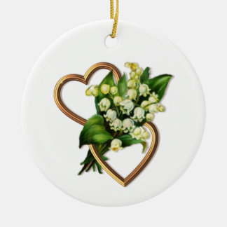 Lily of the Valley with Two Hearts Round Ceramic Decoration