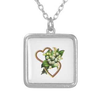 Lily of the Valley with Two Hearts Silver Plated Necklace