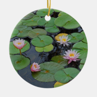 Lily Pad In Pink Round Ceramic Decoration