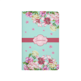 Lily & Peony Floral Aqua Journal