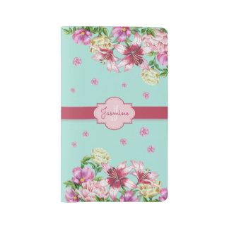 Lily & Peony Floral Aqua Large Moleskine Notebook