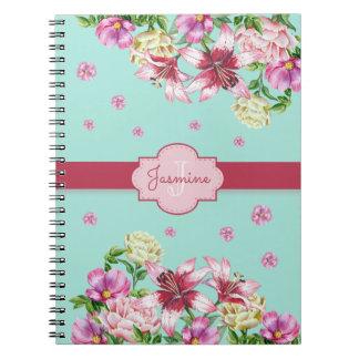 Lily & Peony Floral Aqua Notebooks