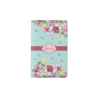 Lily & Peony Floral Aqua Pocket Moleskine Notebook